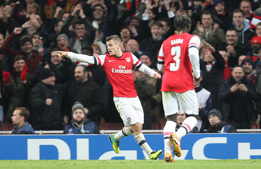 Arsenal's Jack Wilshere celebrates scoring his sides second goal <br /> Photo by Kieran Galvin/CameraSport<br /> <br /> Football - UEFA Champions League Group F - Arsenal v Marseille - Tuesday 26th November 2013 - The Emirates Stadium - London<br /> <br /> &copy; CameraSport - 43 Linden Ave. Countesthorpe. Leicester. England. LE8 5PG - Tel: +44 (0) 116 277 4147 - admin@camerasport.com - www.camerasport.com