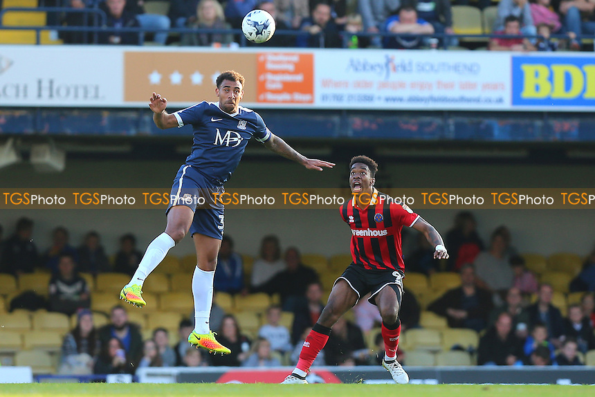 Anton Ferdinand of Southend United rises above Ivan Toney of Shrewsbury Town during Southend United vs Shrewsbury Town, Sky Bet EFL League 1 Football at Roots Hall on 29th October 2016