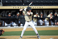 Shane Muntz (11) of the Wake Forest Demon Deacons at bat against the Louisville Cardinals at David F. Couch Ballpark on March 18, 2018 in  Winston-Salem, North Carolina.  The Demon Deacons defeated the Cardinals 6-3.  (Brian Westerholt/Four Seam Images)