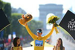 Bradley Wiggins (GBR) Sky Procycling wins the Yellow overall leader's Jersey at the end of stage 20 running from Rambouillet to Paris Champs-Elysees during the 99th edition of the Tour de  France, 22nd July 2012 (Photo by Prevost/L'Equipe/NEWSFILE)