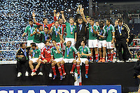 Mexico players with the CONCACAF trophy... Mexico defeated Honduras 2-1 after extra time to win the CONCACAF Olympic qualifying trophy at LIVESTRONG Sporting Park, Kansas City, Kansas.