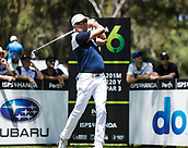 9th February 2018, Lake Karrinyup Country Club, Karrinyup, Australia; ISPS HANDA World Super 6 Perth golf, second round; Robert Allenby (AUS) tees off