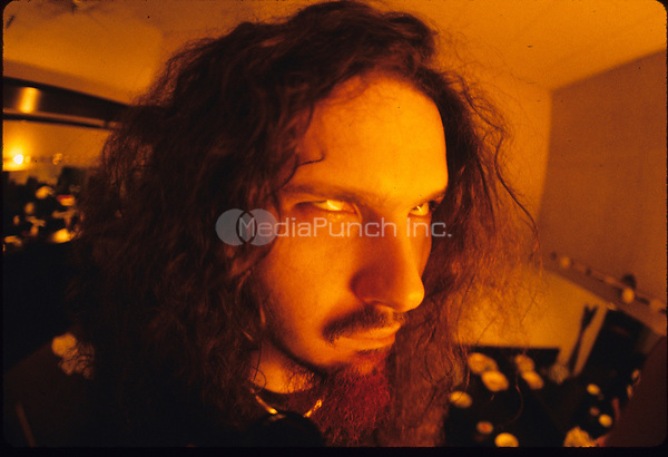 Portrait of Dimebag Darrell of Pantera backstage.<br />  &copy; Gene Ambo / MediaPunch **NO UK or Japan***