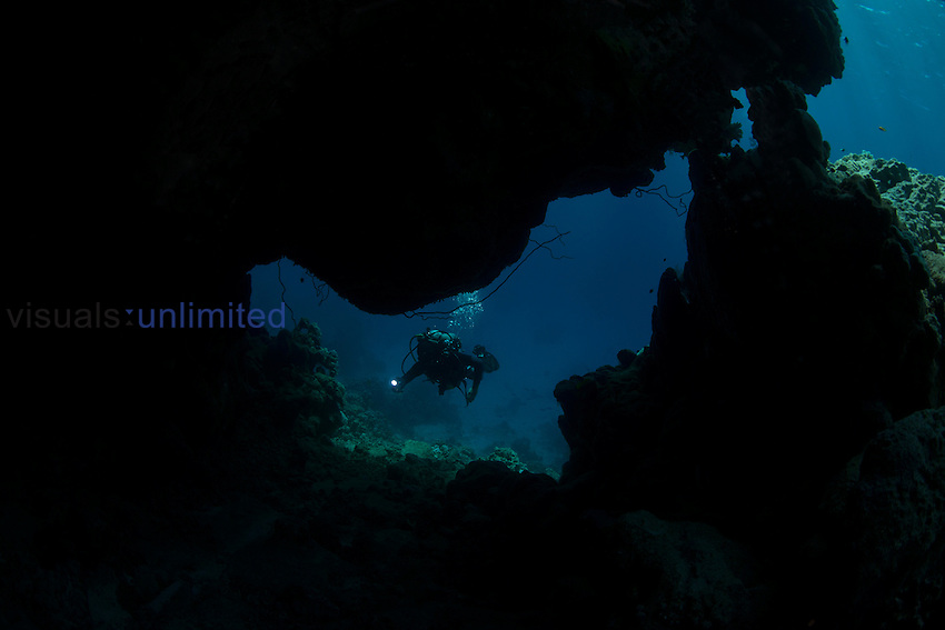 Scuba diver exploring cave in coral reef, Red Sea, Egypt