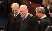 United States Supreme Court Associate Justices Stephen G. Breyer (left) and  Anthony Kennedy (center) arrive to listen  to U.S. President Donald J. Trump address a joint session of Congress on Capitol Hill in Washington, DC, February 28, 2017. <br /> Credit: Chris Kleponis / CNP