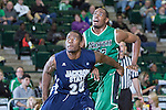 Jackson State Tigers forward Sydney Coleman (20) blocks outNorth Texas Mean Green guard Roger Franklin (32) during the game between the Jackson State Tigers and the North Texas Mean Green at the Super Pit arena in Denton, Texas. UNT defeats Jackson State 83 to 65...