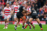 Picture by Alex Whitehead/SWpix.com - 30/09/2017 - Rugby League - Betfred Super League Million Pound Game - Leigh Centurions v Catalans Dragons - Leigh Sports Village, Leigh , England - Leigh's Greg Richards is tackled by Catalans' Paul Aiton and Sam Moa.