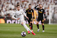 26th February 2020; Estadio Santiago Bernabeu, Madrid, Spain; UEFA Champions League Football, Real Madrid versus Manchester City; Federico Valverde (Real Madrid)  in action during the match
