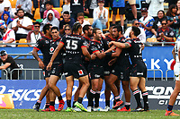 Warriors celebrate. Vodafone Warriors v Gold Coast Titans, NRL Rugby League round 2, Mt Smart Stadium, Auckland. 17 March 2018. Copyright Image: Renee McKay / www.photosport.nz