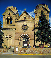 St. Francis Cathedral in downtown Santa Fe, New Mexico. religions, Christianity, architecture. Santa Fe New Mexico, The Plaza.