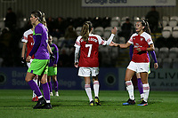 Katie McCabe of Arsenal scores the third goal for her team and celebrates during Arsenal Women vs Bristol City Women, FA Women's Super League Football at Meadow Park on 14th March 2019