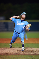 SCF Manatees relief pitcher Henry Ryan (34) delivers a pitch during a game against the College of Central Florida Patriots on February 8, 2017 at Robert C. Wynn Field in Bradenton, Florida.  SCF defeated Central Florida 6-5 in eleven innings.  (Mike Janes/Four Seam Images)