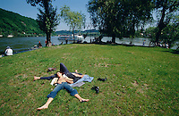 Siesta at the confluence of Danube (l.) and Inn rivers, with view towards Austria on the opposite bank.