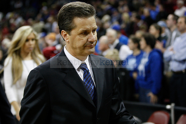 UK head coach John Calipari walks off the court after UK's 67-58 win over South Carolina at Colonial Life Arena on Saturday, Jan. 22, 2011. Photo by Scott Hannigan | Staff