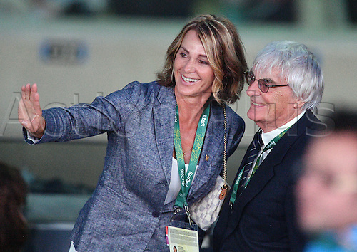05.08.2016. Rio de Janeiro, Brazil.  Former Romanian olympic medalist Nadia Comaneci and Formula One boss Bernie Ecclestone arrive prior to the opening ceremony of the Rio 2016 Olympic Games at the Maracana stadium in Rio de Janeiro, Brazil, 5 August 2016.