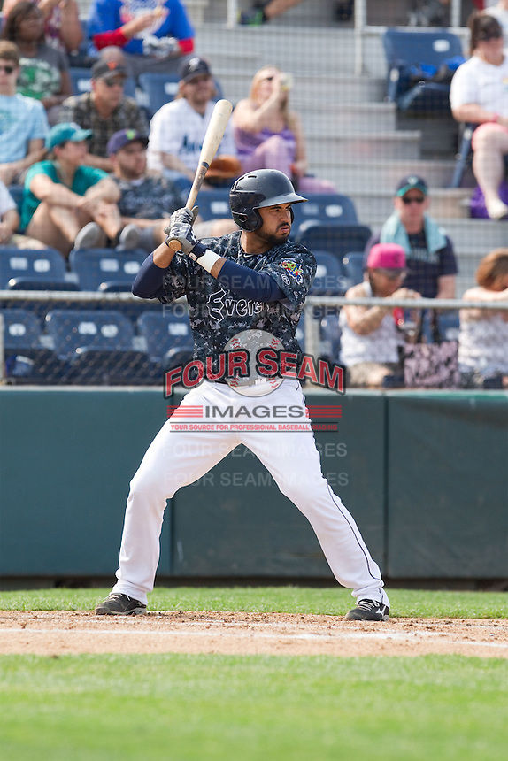 Arturo Nieto (24) of the Everett Aquasox at bat during a game against the Hillsboro Hops at Everett Memorial Stadium in Everett, Washington on July 5, 2015.  Hillsboro defeated Everett 11-4. (Ronnie Allen/Four Seam Images)