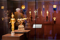 Golden artifacts displayed in the Southeast Gold Museum that presents hundreds of golden artifacts from the private collection of founder Istvan Zelnik in Budapest, Hungary on September 15, 2011. ATTILA VOLGYI
