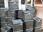 Display of Chelsea pots on sale, The Walled garden plant nursery, Benhall, Suffolk, England, UK