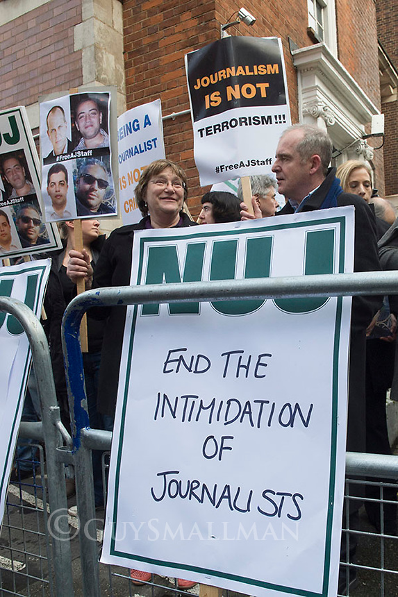 Protest called by the NUJ at the Egyptian Embassy in London over the imprisonment of al Jazeera journalists in Egypt. 19-2-14 The Al Jazeera English journalists currently under detention are Peter Greste, Mohammed Fadel Fahmy and Baher Mohammed who have been detained by the Egyptian authorities since 29 December. Their colleague Abdullah Al Shami has been detained since 14 August and is in the third week of a hunger-strike.