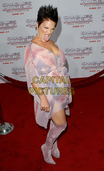 PINK.Charlie's Angels: Full Throttle LA Film Premiere.at Grauman's Theatre, Hollywood.www.capitalpictures.com.sales@capitalpictures.com.©Capital Pictures..full length, full-length, pink suede boots, poking tongue out, tattoo on wrist, floaty dress