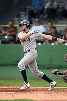 Beloit Snappers first baseman Michael Soto (5) at bat during a game against the Clinton LumberKings on August 17, 2014 at Ashford University Field in Clinton, Iowa.  Clinton defeated Beloit 4-3.  (Mike Janes/Four Seam Images)