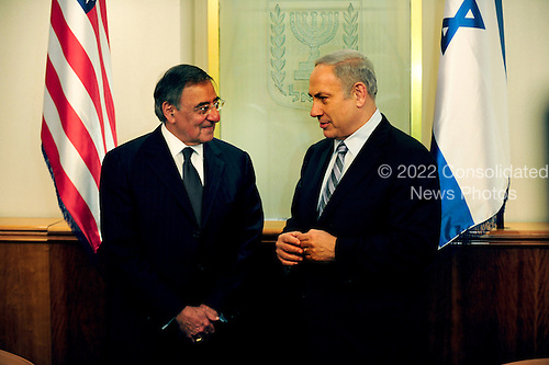 United States Secretary of Defense Leon Panetta meets with Prime Minister Benjamin Netanyahu of Israel in Jerusalem, Israel, October 3, 2011. Panetta is scheduled to discuss a variety of defense related issues during his trip. .Mandatory Credit: Jacob N. Bailey / USAF via CNP
