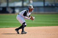 UCF Knights Adams Torres (6) during practice before a game against the Siena Saints on February 17, 2019 at John Euliano Park in Orlando, Florida.  UCF defeated Siena 7-1.  (Mike Janes/Four Seam Images)