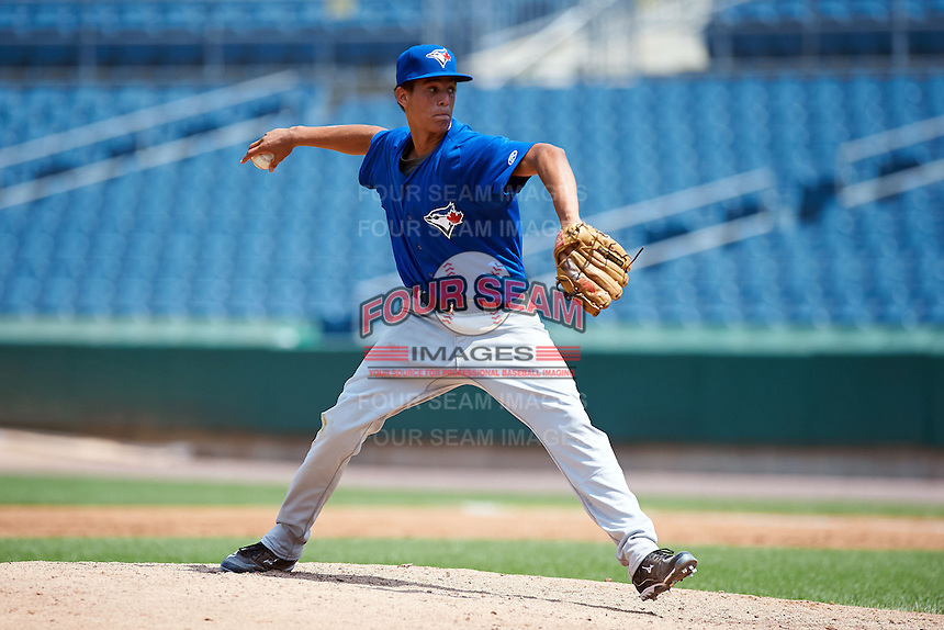 Alec Grosser #22 of TC Williams High School in Alexandria, Virginia playing for the Toronto Blue Jays scout team during the East Coast Pro Showcase at Alliance Bank Stadium on August 4, 2012 in Syracuse, New York.  (Mike Janes/Four Seam Images)
