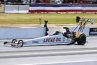 May 15, 2016; Commerce, GA, USA; NHRA top fuel driver Richie Crampton during the Southern Nationals at Atlanta Dragway. Mandatory Credit: Mark J. Rebilas-USA TODAY Sports