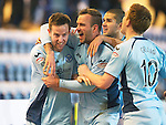 Dundee v St Johnstone.....27.02.13      SPL.Steven MacLean celebrates his goal with Rowan Vine, Mehdi Abeid and Liam Craig.Picture by Graeme Hart..Copyright Perthshire Picture Agency.Tel: 01738 623350  Mobile: 07990 594431