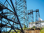 Historic copper mining head frame and towers, city of Butte, Montana