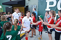 Portland, Oregon - Sunday April 17, 2016: Portland Thorns FC defender Meghan Klingenberg (25). The Portland Thorns play the Orlando Pride during a regular season NWSL match at Providence Park. The Thorns won 2-1.