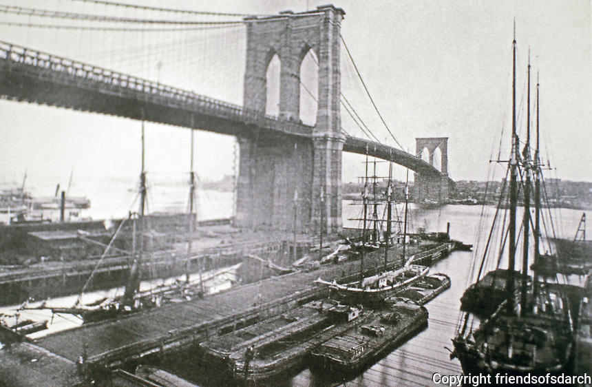 Brooklyn Bridge--old photograph-- hybrid cable-stayed/suspension bridge in New York City. Completed in 1883, it connects the boroughs of Manhattan and Brooklyn by spanning the East River.  John A. Roebling, Washington Roebling, David B. Steinman, Architects.