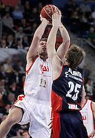 Caja Laboral Baskonia's David Jelinek (r) and CAI Zaragoza's Jon Stefansson during Spanish Basketball King's Cup match.February 07,2013. (ALTERPHOTOS/Acero)