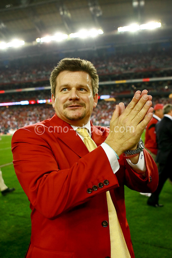 Jan 03, 2009; Glendale, AZ, USA; Arizona Cardinals Vice President Michael Bidwell claps his hands after the NFC Wild Card Playoff Game against the Atlanta Falcons at University of Phoenix Stadium.  The Cardinals won the game 30-24.
