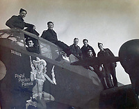 BNPS.co.uk (01202 558833)<br /> Pic:  DavidLay/BNPS<br /> <br /> 'Pistol Packin Pamela' - Some crews adopted the American habit of decorating their aircraft.<br /> <br /> Bomber command heroes WW2 exploits discovered in a shoebox.<br /> <br /> The personal effects of a fearless 'Tail-end Charlie' have been discovered in a shoebox - and they include a charming set of photos of his wartime service.<br /> <br /> Flight Sergeant Douglas Alexander, of 460 Squadron, took part in nearly 40 bombing raids over Germany, including the famous assault on Hitler's mountain retreat, Berchtesgaden.<br /> <br /> As a tail gunner, he sat in a tiny glass turret at the rear of Lancaster and Halifax bombers - a terribly exposed position.<br /> <br /> The shoebox, containing his bravery medals, logbooks and photos, was bought into auctioneer David Lay Frics, of Penzance, Cornwall, by his daughter.<br /> <br /> Flt Sgt Alexander's medal group includes the prestigious Distinguished Flying Medal, awarded for 'exceptional valour, courage and devotion to duty', with his photos capturing the camarederie which existed in the RAF as the airmen risked their lives on every mission to defeat Adolf Hitler.