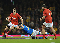 Wales Liam Williams is tackled by Italy&rsquo;s Giovanni Licata<br /> <br /> Photographer Ian Cook/CameraSport<br /> <br /> 2018 NatWest Six Nations Championship - Wales v Italy - Sunday 11th March 2018 - Principality Stadium - Cardiff<br /> <br /> World Copyright &copy; 2018 CameraSport. All rights reserved. 43 Linden Ave. Countesthorpe. Leicester. England. LE8 5PG - Tel: +44 (0) 116 277 4147 - admin@camerasport.com - www.camerasport.com