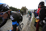 Geraint Thomas (SKY Procycling) at the top of the cobbled climb of Paterberg during the 56th edition of the E3 Harelbeke, Belgium, 22nd  March 2013 (Photo by Eoin Clarke 2013)