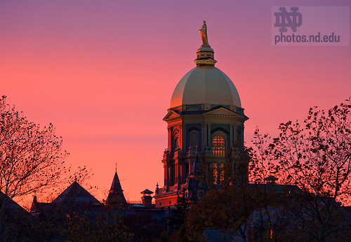 Oct. 29, 2012; Golden Dome at sunset..photo by Matt Cashore/University of Notre Dame