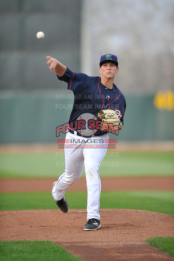 Cedar Rapids Kernels starting pitcher Tyler Wells (40) throws during a game against the Wisconsin Timber Rattlers at Veterans Memorial Stadium on April 13, 2017 in Cedar Rapids, Iowa.  The Kernels won 2-1.  (Dennis Hubbard/Four Seam Images)