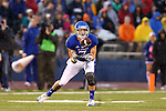 13 October 2012: KU's Kale Pick catches a pass in the first quarter. The Oklahoma State University Cowboys played the University of Kansas Jayhawks at Memorial Stadium in Lawrence, Kansas in a 2012 NCAA Division I Football game.
