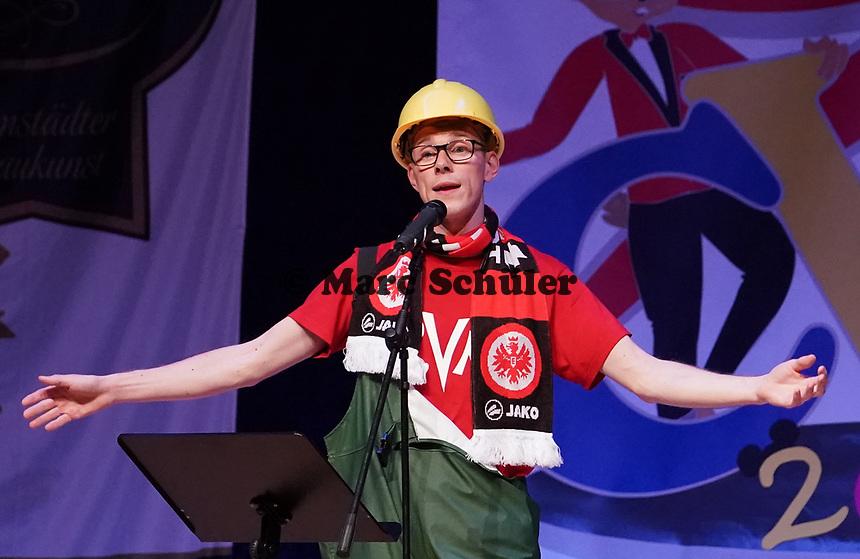 """""""Stadtwerkefacharbeiter"""" Sven Tolksdorf tritt mit seiner Büttenrede bei den Sandhasen auf - Mörfelden-Walldorf 15.11.2019: Eröffnungssitzung der Sandhasen"""