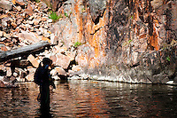 An angler fishes a tributary of the Smith River in central Montana.