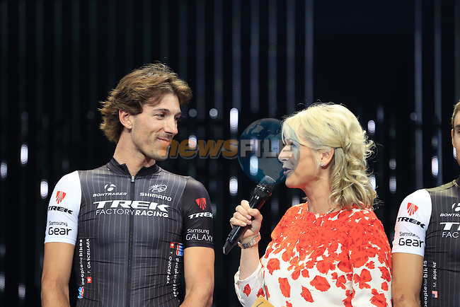 Fabian Cancellara (SUI) Trek Factory Racing team on stage at the Team Presentations held in the Leeds First Direct Arena before the Grand Depart of the 2014 Tour de France. 3rd July 2014.<br /> Picture: Eoin Clarke www.newsfile.ie