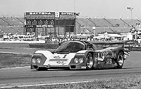 The #1 Porsche 962 of A.J. Foyt, Al Unser and Danny Sullivan races to a fourth place finish in the Rolex 24 at Daytona, Daytona International Speedway, Daytona Beach, FL, February 1, 1987.  (Photo by Brian Cleary/www.bcpix.com)