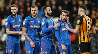 Bolton Wanderers' Mark Beevers, David Wheater, Marc Wilson and Christian Doidge prepare to attack a corner kick as Hull City's Reece Burke defends<br /> <br /> <br /> Photographer Andrew Kearns/CameraSport<br /> <br /> The EFL Sky Bet Championship - Hull City v Bolton Wanderers - Tuesday 1st January 2019 - KC Stadium - Hull<br /> <br /> World Copyright © 2019 CameraSport. All rights reserved. 43 Linden Ave. Countesthorpe. Leicester. England. LE8 5PG - Tel: +44 (0) 116 277 4147 - admin@camerasport.com - www.camerasport.com