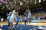 03 March 2013: Duke's Allison Vernerey (FRA) (43) shoots over North Carolina's Brittany Rountree (11). The Duke University Blue Devils played the University of North Carolina Tar Heels at Cameron Indoor Stadium in Durham, North Carolina in a 2012-2013 NCAA Division I and Atlantic Coast Conference women's college basketball game. Duke won the game 65-58.