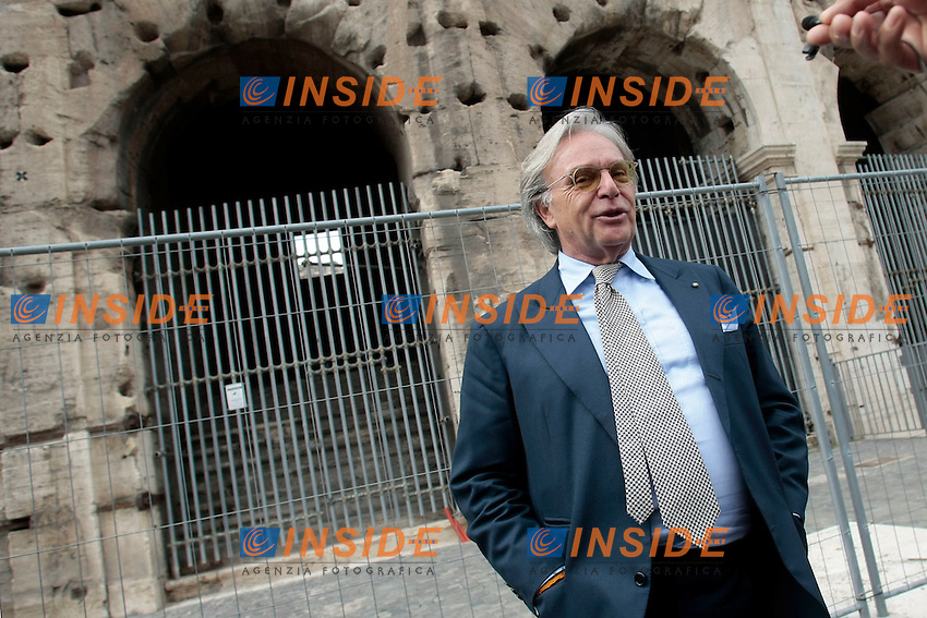 Diego Della Valle<br /> Roma 29-07-2014  Sopralluogo e conferenza stampa sull'avanzamento dei lavori di restauro del Colosseo finanziati dalla Tod's di Diego Della Valle.<br /> Press conference of the owner of Tod's that financed the restoration of Coliseum<br /> Photo Samantha Zucchi Insidefoto