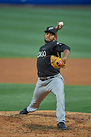 El Paso Chihuahuas starting pitcher Emmanuel Ramirez (40) delivers a pitch to the plate against the Salt Lake Bees  at Smith's Ballpark on August 17, 2019 in Salt Lake City, Utah. The Bees defeated the Chihuahuas 5-4. (Stephen Smith/Four Seam Images)