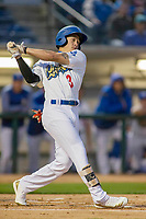 Rancho Cucamonga Quakes Jeren Kendall (3) follows through on his swing against the Inland Empire 66ers at LoanMart Field on April 12, 2018 in Rancho Cucamonga, California. The 66ers defeated the Quakes 5-4.  (Donn Parris/Four Seam Images)